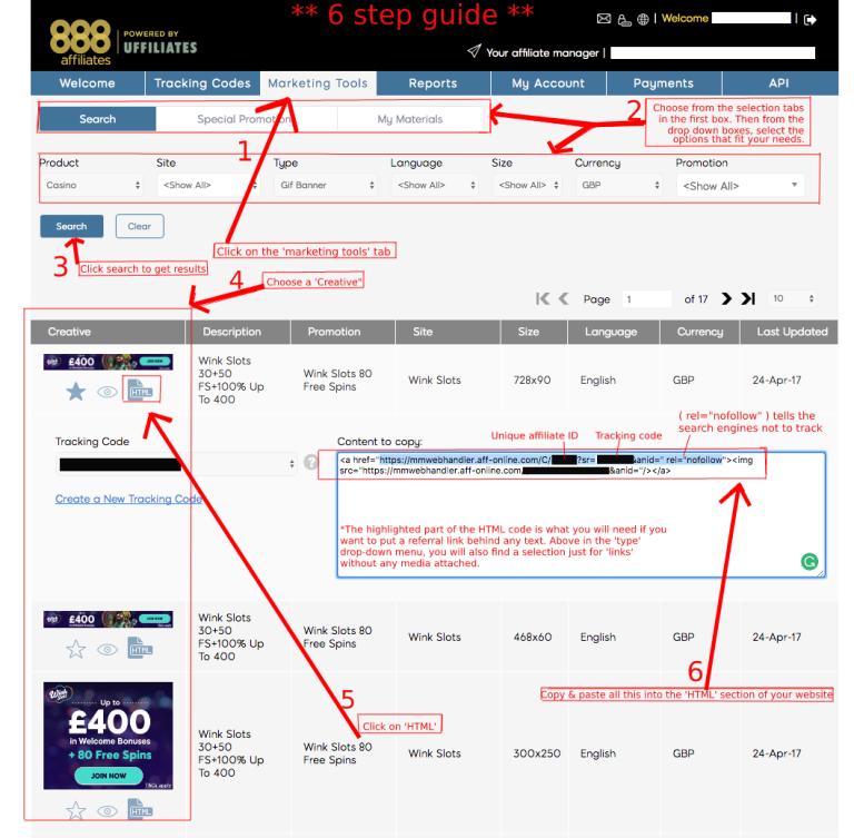 6 step guide 888 affiliates